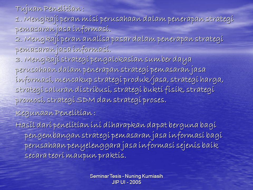 Seminar Tesis - Nuning Kurniasih JIP UI - 2005 Tujuan Penelitian : 1. Mengkaji peran misi perusahaan dalam penerapan strategi pemasaran jasa informasi
