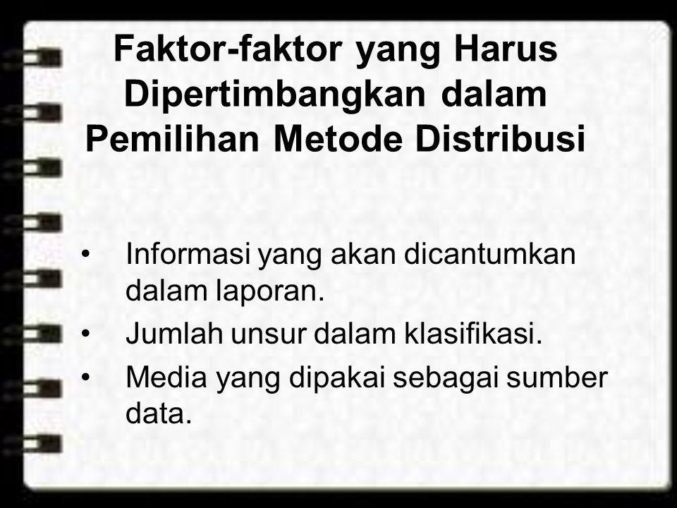 Faktor-faktor yang Harus Dipertimbangkan dalam Pemilihan Metode Distribusi •Informasi yang akan dicantumkan dalam laporan. •Jumlah unsur dalam klasifi