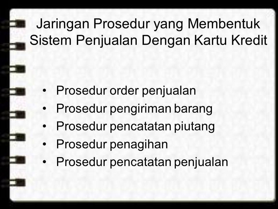 Jaringan Prosedur yang Membentuk Sistem Penjualan Dengan Kartu Kredit •Prosedur order penjualan •Prosedur pengiriman barang •Prosedur pencatatan piuta