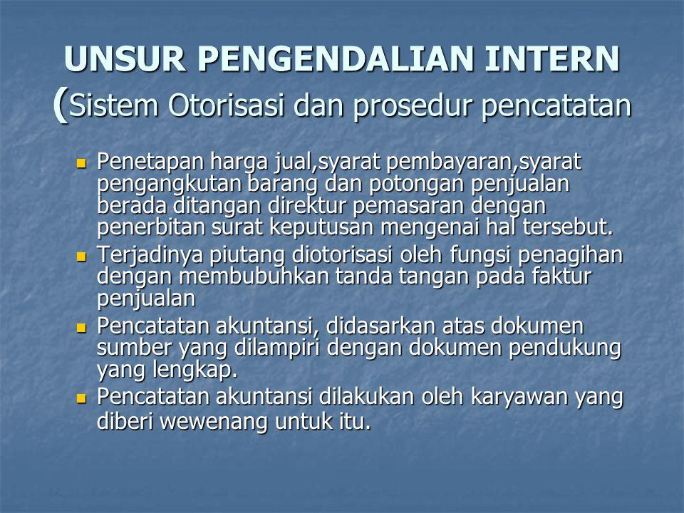 UNSUR PENGENDALIAN INTERN ( Sistem Otorisasi dan prosedur pencatatan  Penetapan harga jual,syarat pembayaran,syarat pengangkutan barang dan potongan