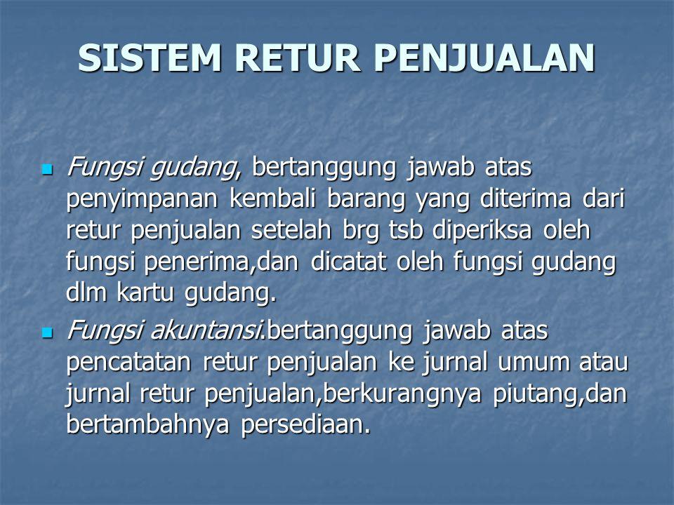 SISTEM RETUR PENJUALAN  Fungsi gudang, bertanggung jawab atas penyimpanan kembali barang yang diterima dari retur penjualan setelah brg tsb diperiksa