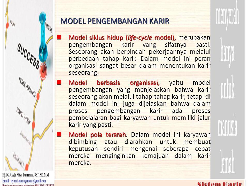 MODEL PENGEMBANGAN KARIR  Model siklus hidup (life-cycle model), merupakan pengembangan karir yang sifatnya pasti. Seseorang akan berpindah pekerjaan