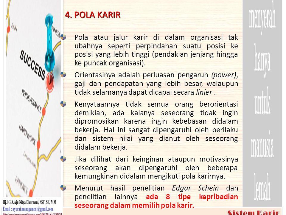 4. POLA KARIR Pola atau jalur karir di dalam organisasi tak ubahnya seperti perpindahan suatu posisi ke posisi yang lebih tinggi (pendakian jenjang hi