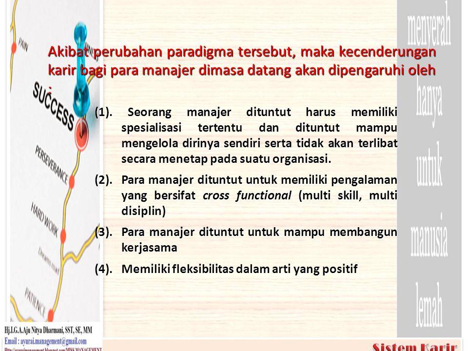 (1). Seorang manajer dituntut harus memiliki spesialisasi tertentu dan dituntut mampu mengelola dirinya sendiri serta tidak akan terlibat secara menet
