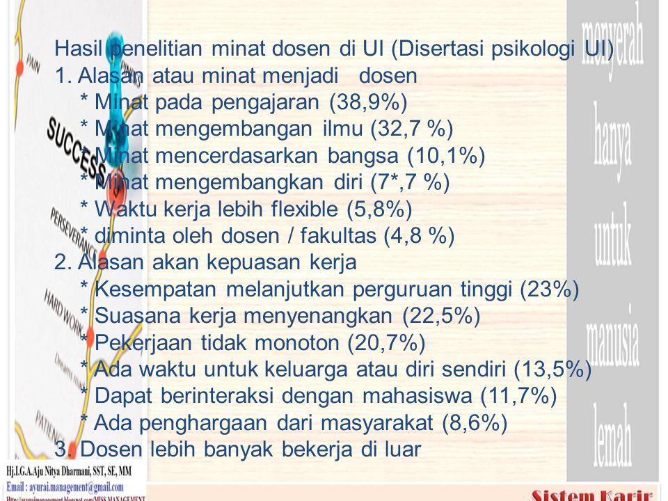 Hasil penelitian minat dosen di UI (Disertasi psikologi UI) 1. Alasan atau minat menjadi dosen * Minat pada pengajaran (38,9%) * Minat mengembangan il