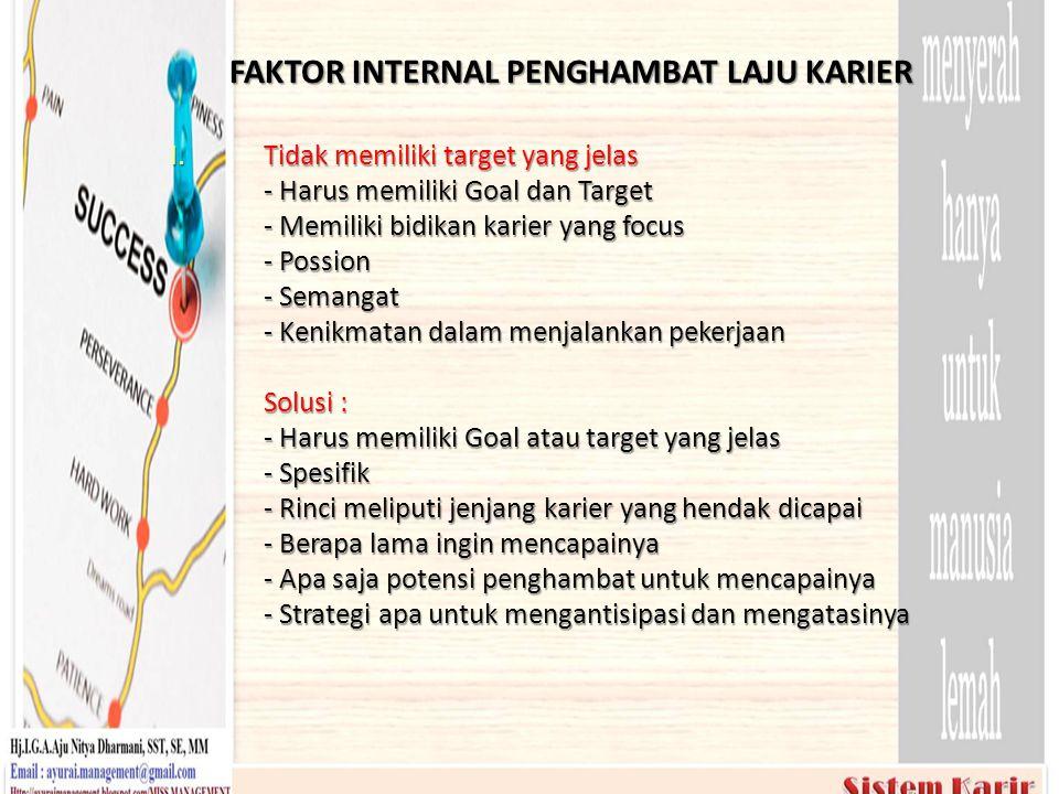FAKTOR INTERNAL PENGHAMBAT LAJU KARIER I.Tidak memiliki target yang jelas - Harus memiliki Goal dan Target - Memiliki bidikan karier yang focus - Poss