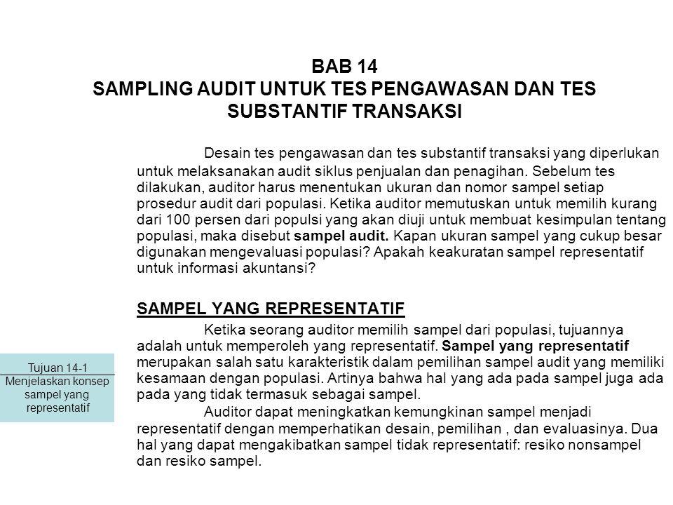 BAB 14 SAMPLING AUDIT UNTUK TES PENGAWASAN DAN TES SUBSTANTIF TRANSAKSI Desain tes pengawasan dan tes substantif transaksi yang diperlukan untuk melaksanakan audit siklus penjualan dan penagihan.