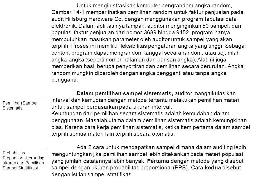 Untuk mengilustrasikan komputer pengrandom angka random, Gambar 14-1 memperlihatkan pemilihan random untuk faktur penjualan pada audit Hillsburg Hardware Co.