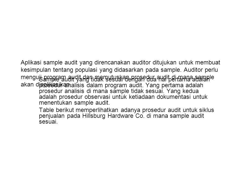 Aplikasi sample audit yang direncanakan auditor ditujukan untuk membuat kesimpulan tentang populasi yang didasarkan pada sample.