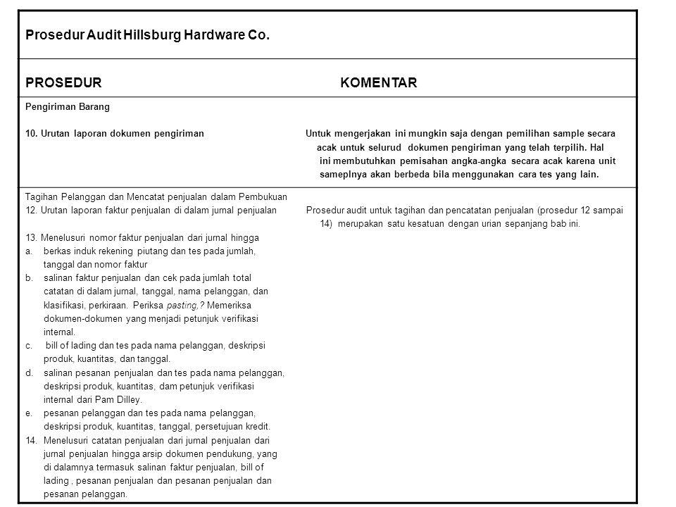 Prosedur Audit Hillsburg Hardware Co.PROSEDUR KOMENTAR Pengiriman Barang 10.