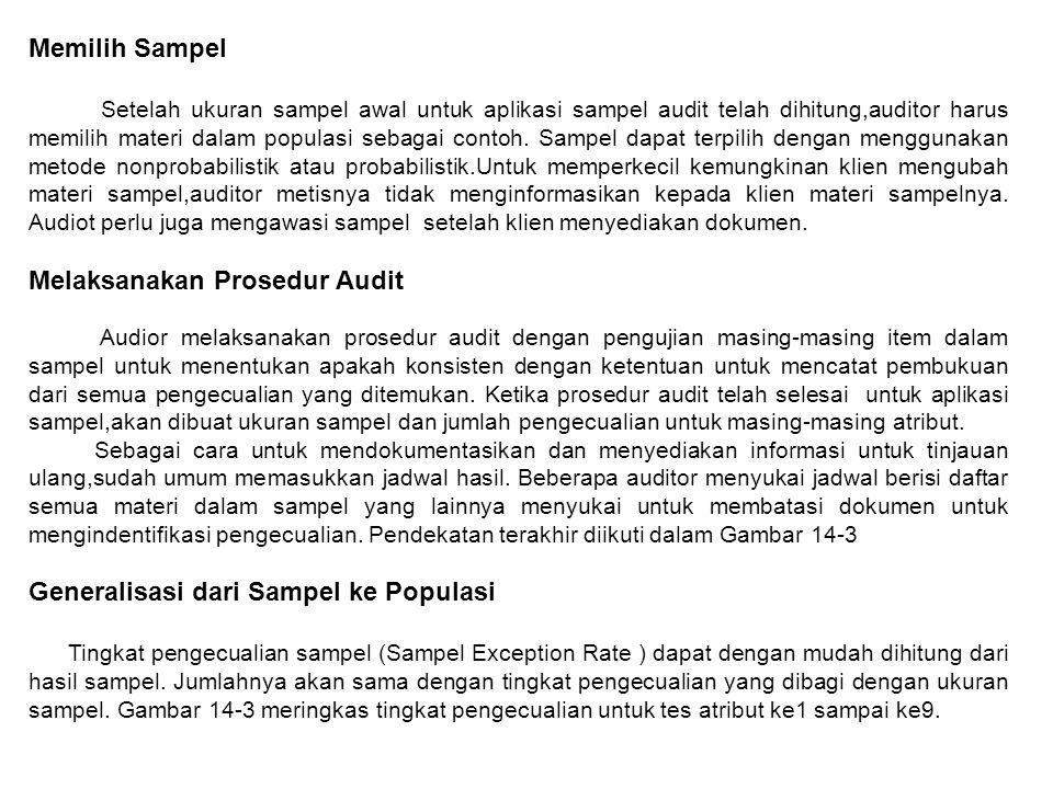 Memilih Sampel Setelah ukuran sampel awal untuk aplikasi sampel audit telah dihitung,auditor harus memilih materi dalam populasi sebagai contoh.
