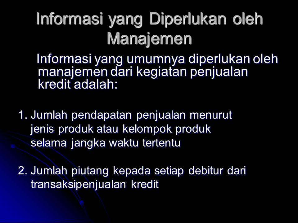 Informasi yang Diperlukan oleh Manajemen Informasi yang umumnya diperlukan oleh manajemen dari kegiatan penjualan kredit adalah: Informasi yang umumnya diperlukan oleh manajemen dari kegiatan penjualan kredit adalah: 1.