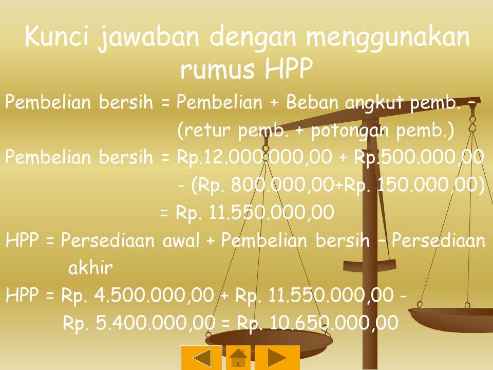 Contoh soal tentang cara menghitung HPP PT