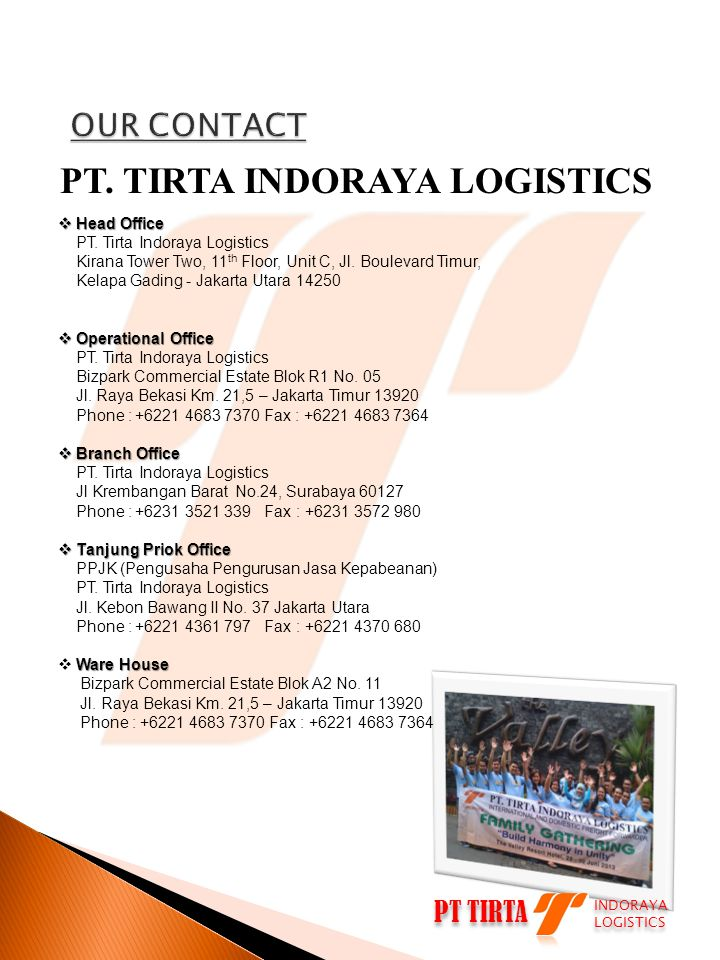 PT TIRTA INDORAYA LOGISTICS INDORAYA LOGISTICS The company main business are Services which is providing: Logistics, Export Import, and Transportation provides 3 kinds of mode: air, land and sea .