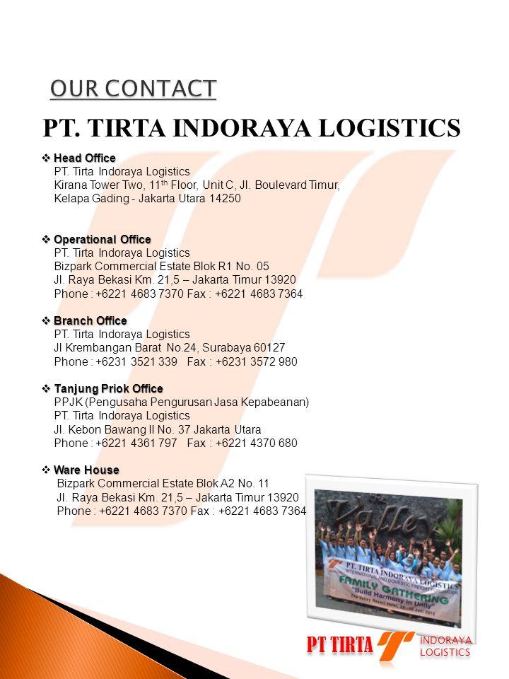 PT TIRTA INDORAYA LOGISTICS INDORAYA LOGISTICS PT. TIRTA INDORAYA LOGISTICS  Head Office PT. Tirta Indoraya Logistics Kirana Tower Two, 11 th Floor,