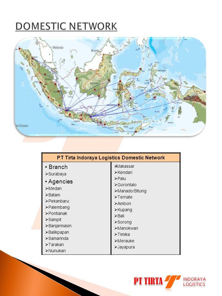 PT Tirta Indoraya Logistics Domestic Network • Branch  Surabaya • Agencies  Medan  Batam  Pekanbaru  Palembang  Pontianak  Sampit  Banjarmasin