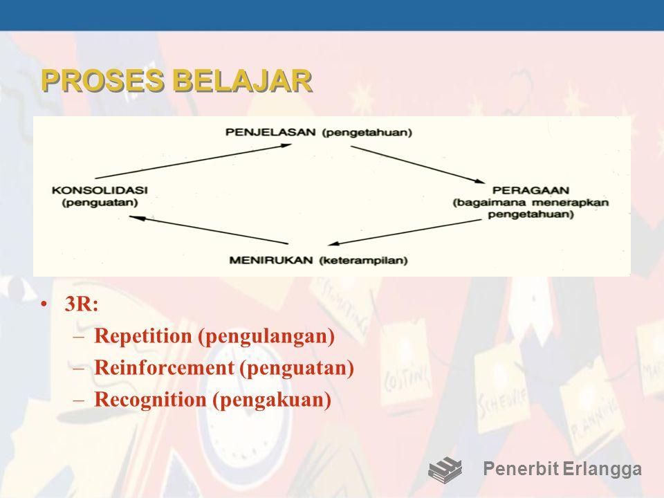 PROSES BELAJAR •3R: –Repetition (pengulangan) –Reinforcement (penguatan) –Recognition (pengakuan) Penerbit Erlangga