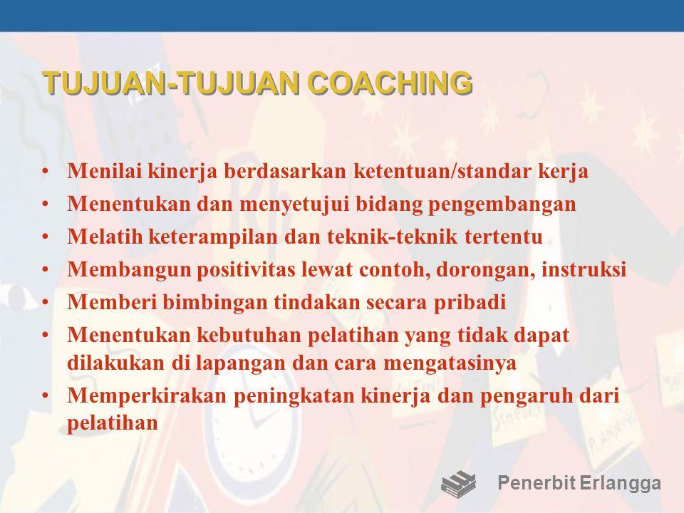 TUJUAN-TUJUAN COACHING •Menilai kinerja berdasarkan ketentuan/standar kerja •Menentukan dan menyetujui bidang pengembangan •Melatih keterampilan dan t