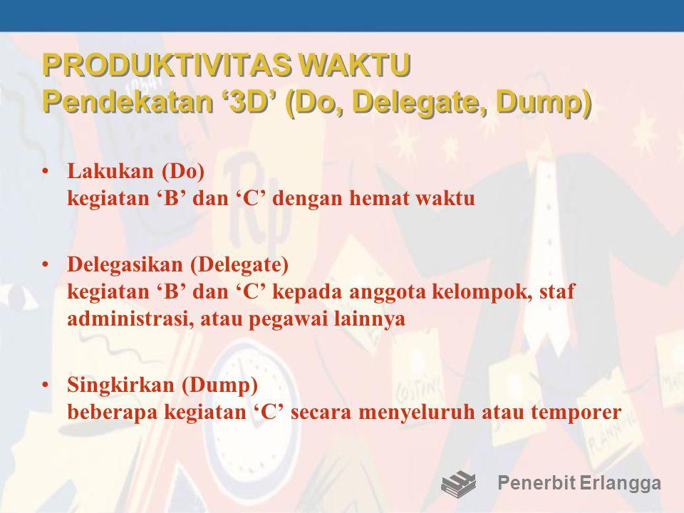 PRODUKTIVITAS WAKTU Pendekatan '3D' (Do, Delegate, Dump) •Lakukan (Do) kegiatan 'B' dan 'C' dengan hemat waktu •Delegasikan (Delegate) kegiatan 'B' da