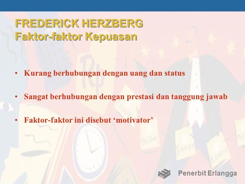 FREDERICK HERZBERG Faktor-faktor Kepuasan •Kurang berhubungan dengan uang dan status •Sangat berhubungan dengan prestasi dan tanggung jawab •Faktor-fa