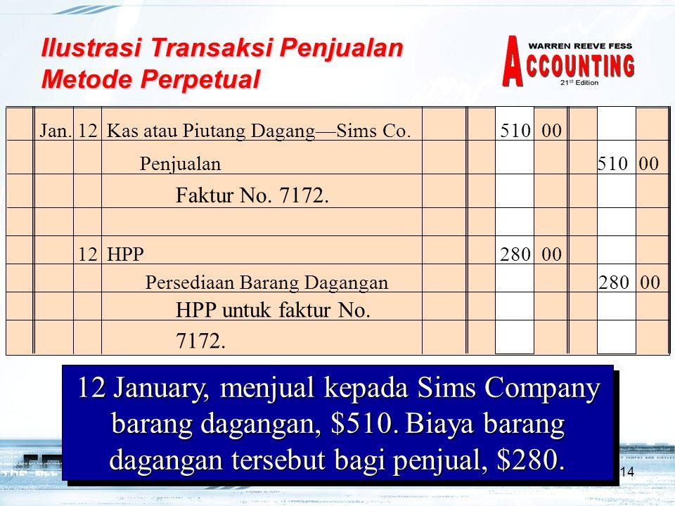 14 Ilustrasi Transaksi Penjualan Metode Perpetual Jan.