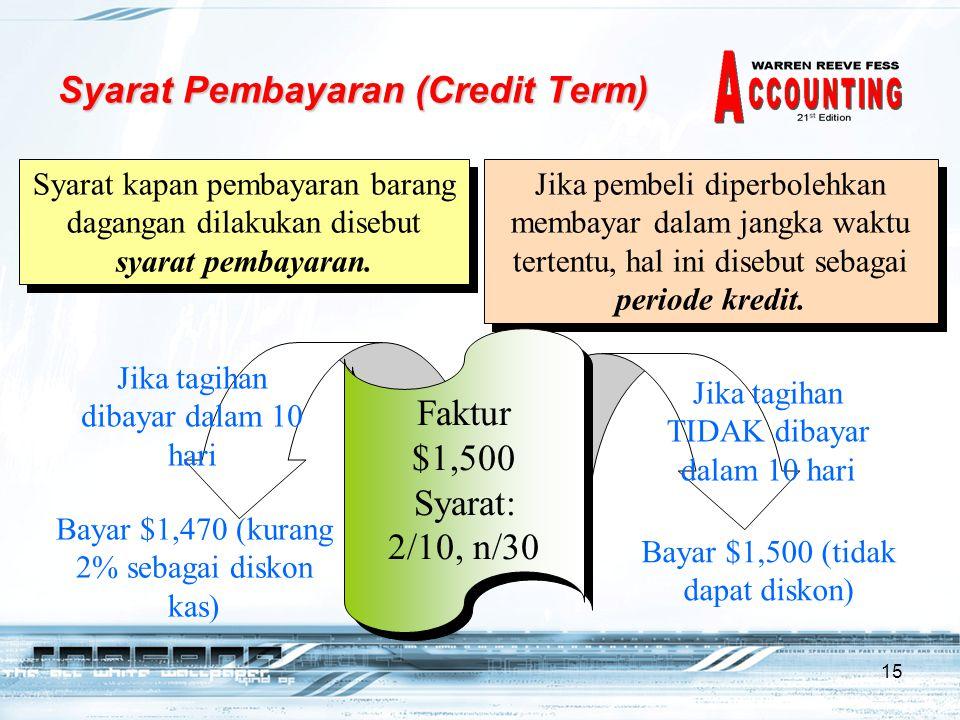 15 Syarat Pembayaran (Credit Term) Syarat kapan pembayaran barang dagangan dilakukan disebut syarat pembayaran.