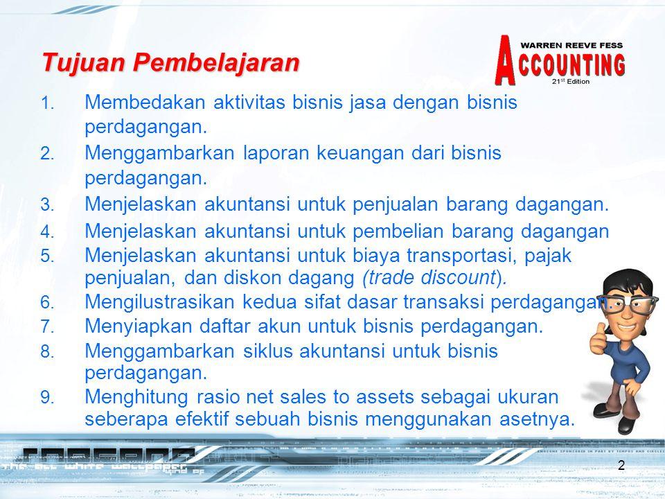 2 Tujuan Pembelajaran 1.Membedakan aktivitas bisnis jasa dengan bisnis perdagangan.