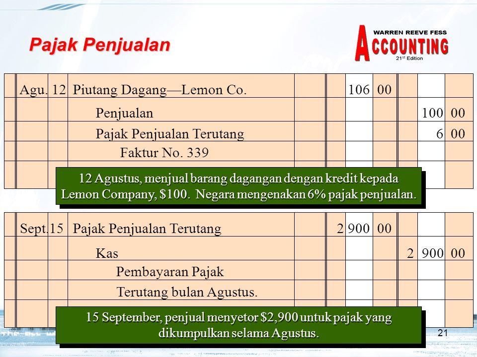 21 Pajak Penjualan Agu.12 Piutang Dagang—Lemon Co.