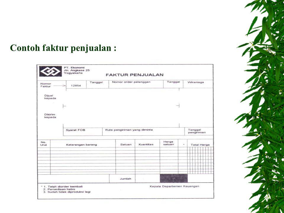 C. Catatan akuntansi : 1. Jurnal penjualan 2. Kartu piutang 3. Kartu gudang 4. Kartu persediaan 5. Jurnal umum D. Jaringan prosedur : 1. Prosedur orde