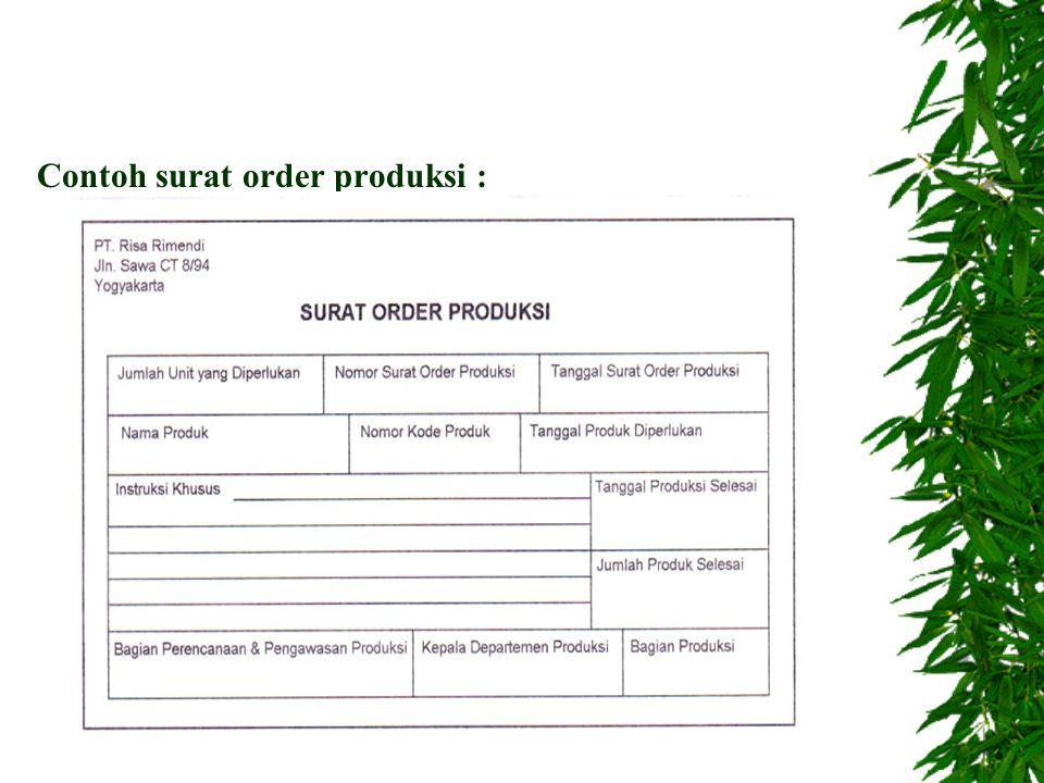 D. Jaringan prosedur : 1.Prosedur order produksi 2.Prosedur permintaan dan pengeluaran barang gudang 3.Prosedur pengembalian barang gudang 4.Prosedur