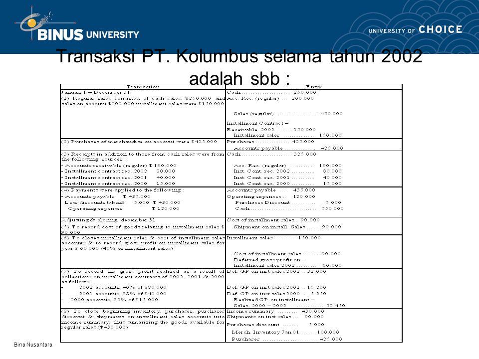 Bina Nusantara Transaksi PT. Kolumbus selama tahun 2002 adalah sbb :
