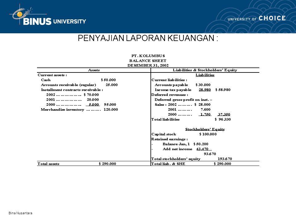 Bina Nusantara PENYAJIAN LAPORAN KEUANGAN :