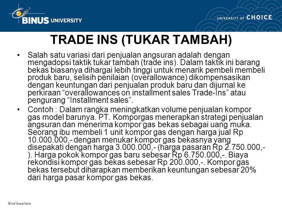 TRADE INS (TUKAR TAMBAH) •Salah satu variasi dari penjualan angsuran adalah dengan mengadopsi taktik tukar tambah (trade ins). Dalam taktik ini barang