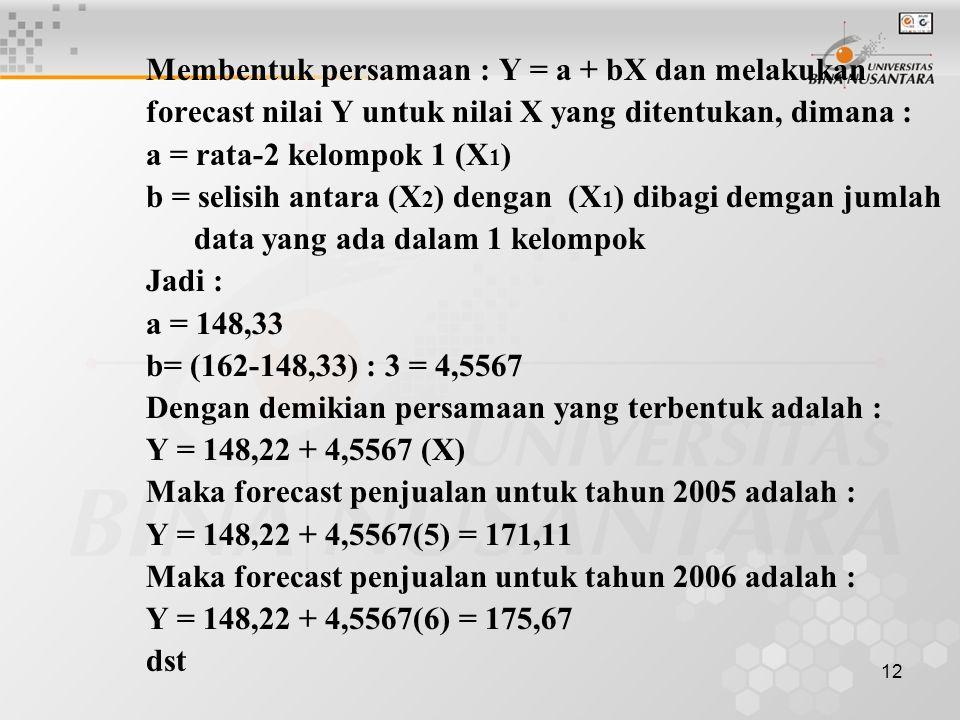 12 Membentuk persamaan : Y = a + bX dan melakukan forecast nilai Y untuk nilai X yang ditentukan, dimana : a = rata-2 kelompok 1 (X 1 ) b = selisih an