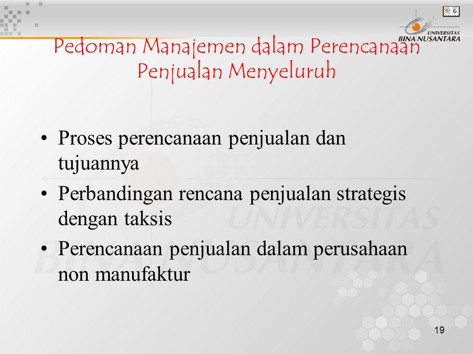19 Pedoman Manajemen dalam Perencanaan Penjualan Menyeluruh •Proses perencanaan penjualan dan tujuannya •Perbandingan rencana penjualan strategis deng