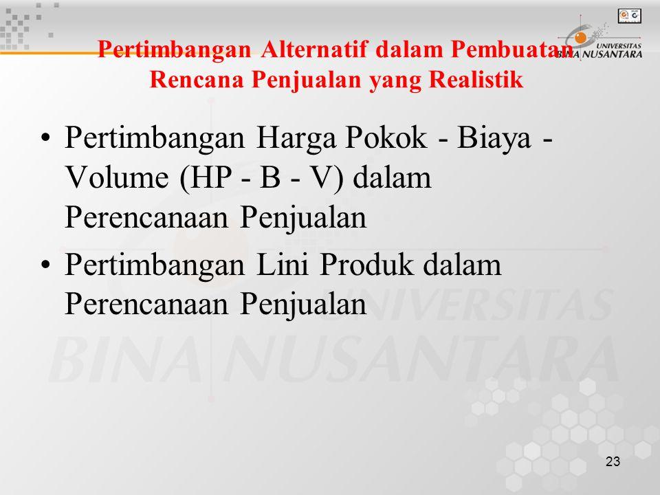 23 Pertimbangan Alternatif dalam Pembuatan Rencana Penjualan yang Realistik •Pertimbangan Harga Pokok - Biaya - Volume (HP - B - V) dalam Perencanaan