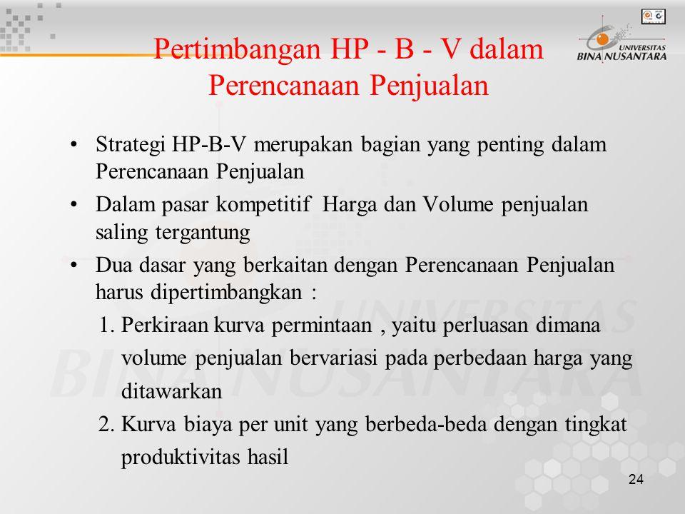 24 Pertimbangan HP - B - V dalam Perencanaan Penjualan •Strategi HP-B-V merupakan bagian yang penting dalam Perencanaan Penjualan •Dalam pasar kompeti