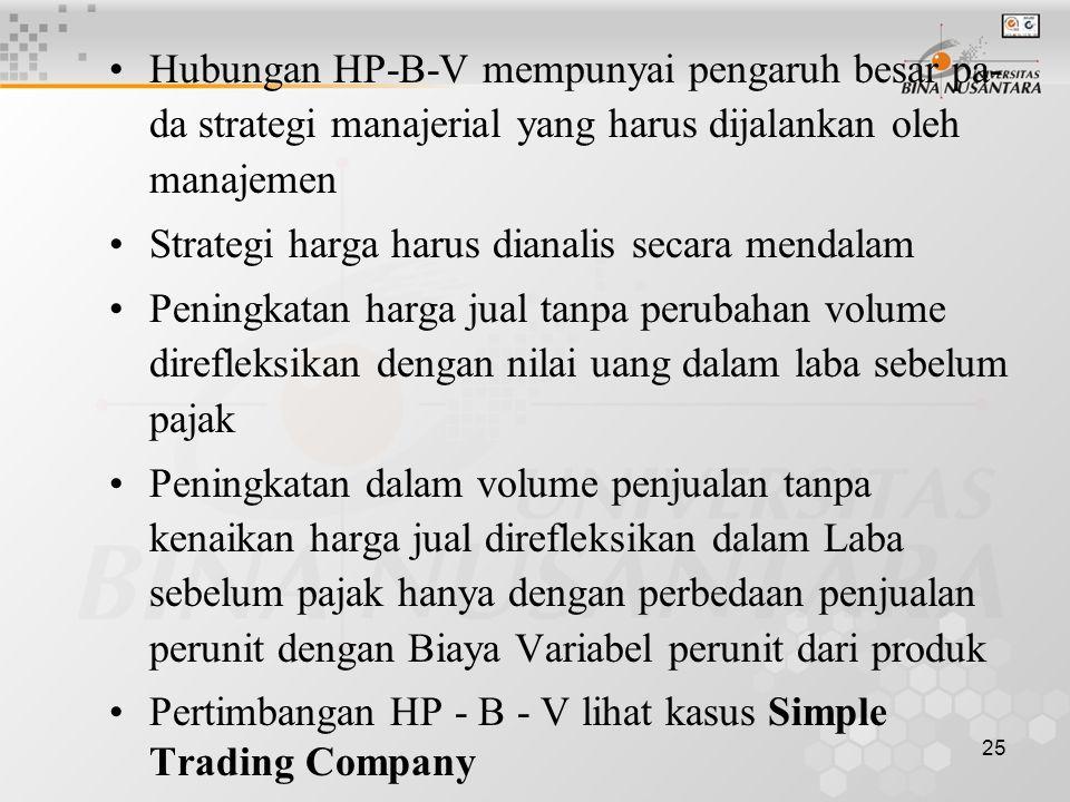 25 •Hubungan HP-B-V mempunyai pengaruh besar pa- da strategi manajerial yang harus dijalankan oleh manajemen •Strategi harga harus dianalis secara men