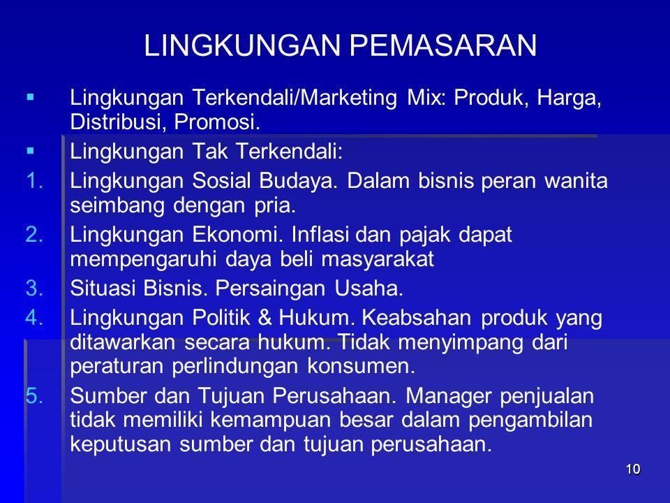 11 Marketing Mix ProdukHarga Promosi Distribusi PeriklananPenjualan Tatap Muka Promosi Publisitas Manajemen Penjualan Perencanaan Pengkompensasian Penganggaran Pemotivasian Penarikan dan Pemilihan Perancangan Wilayah Pelatihan Penilaian Unjuk Kerja