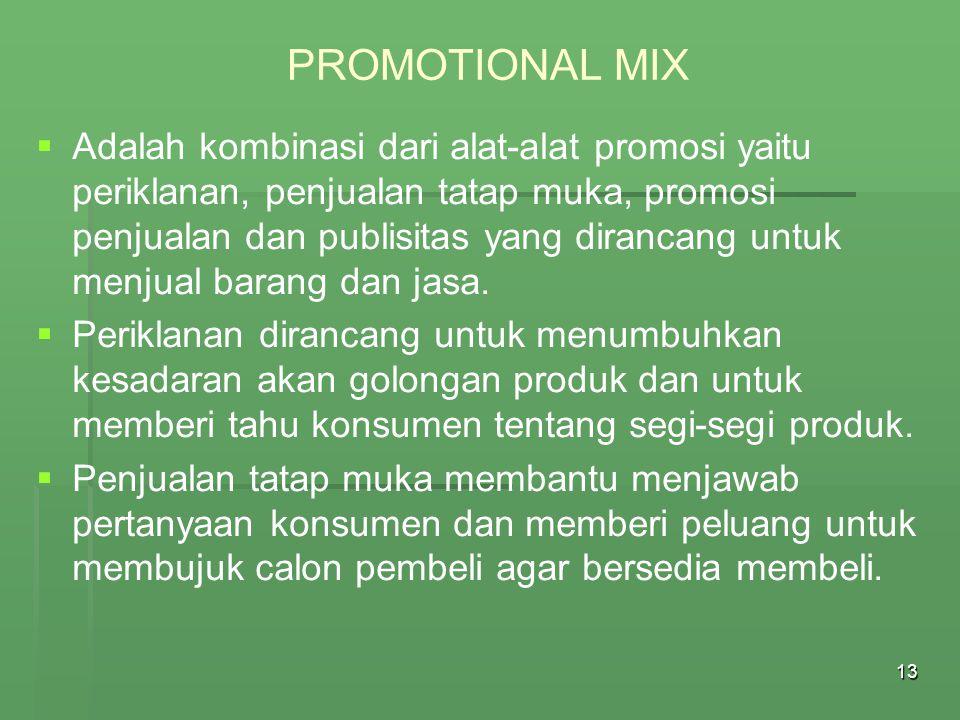 14 PROMOTIONAL MIX   Promosi penjualan dengan teknik pemberian kupon potongan harga digunakan untuk menarik calon pembeli agar segera melakukan pembelian di toko-toko eceran.