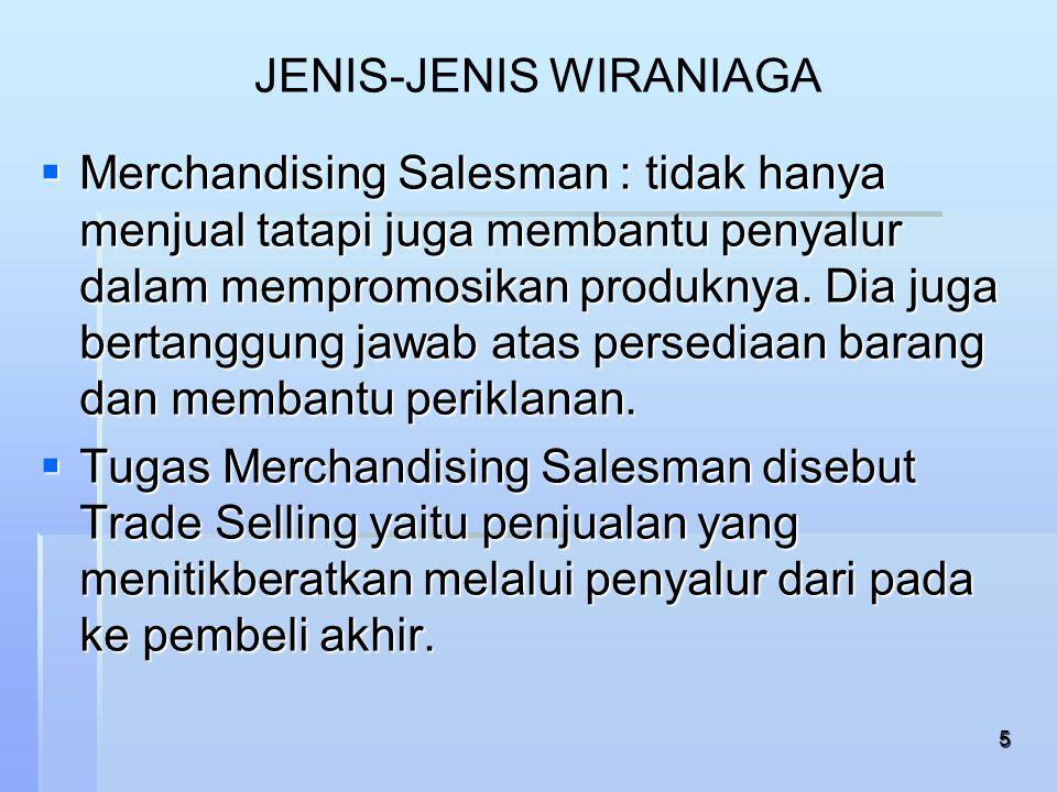 6 JENIS-JENIS WIRANIAGA   Detailman: tidak melakukan penjualan secara langsung.
