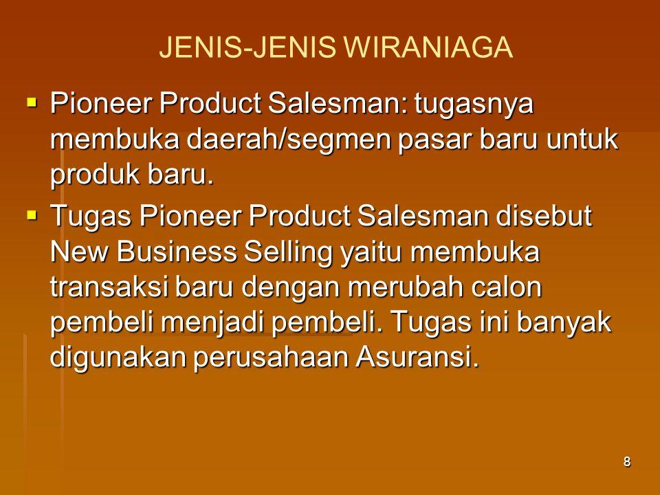 9 PERAN WIRANIAGA  Penjamin penjualan. Pencipta kekayaan.