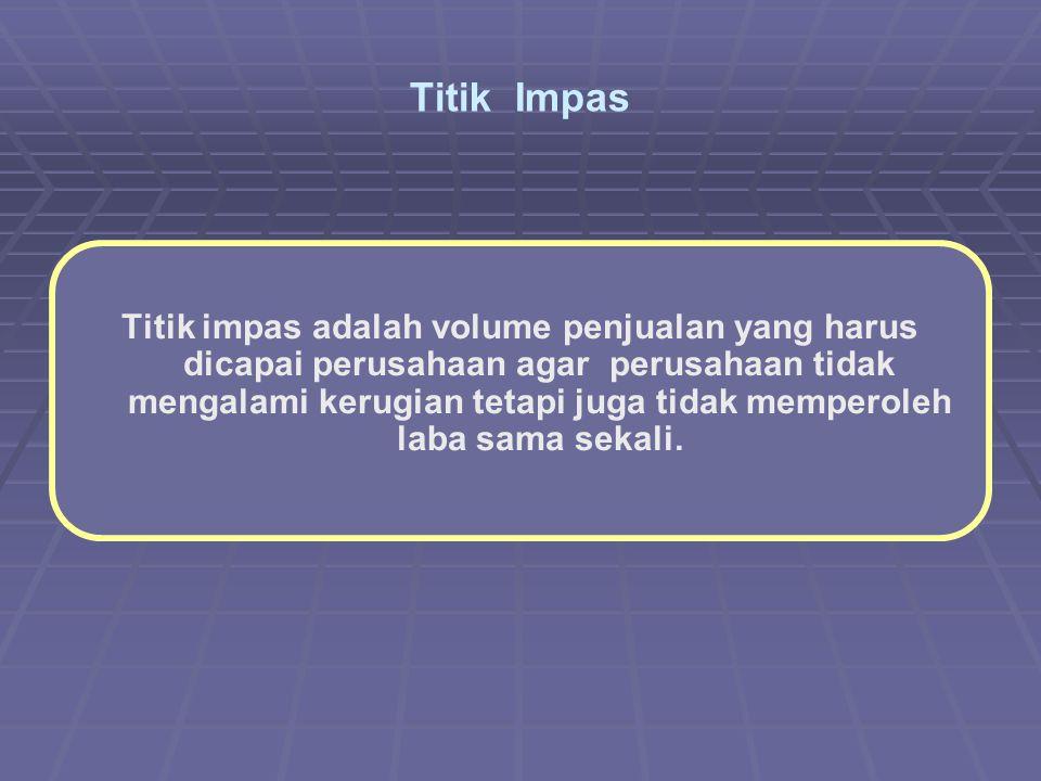 Titik Impas Titik impas adalah volume penjualan yang harus dicapai perusahaan agar perusahaan tidak mengalami kerugian tetapi juga tidak memperoleh laba sama sekali.
