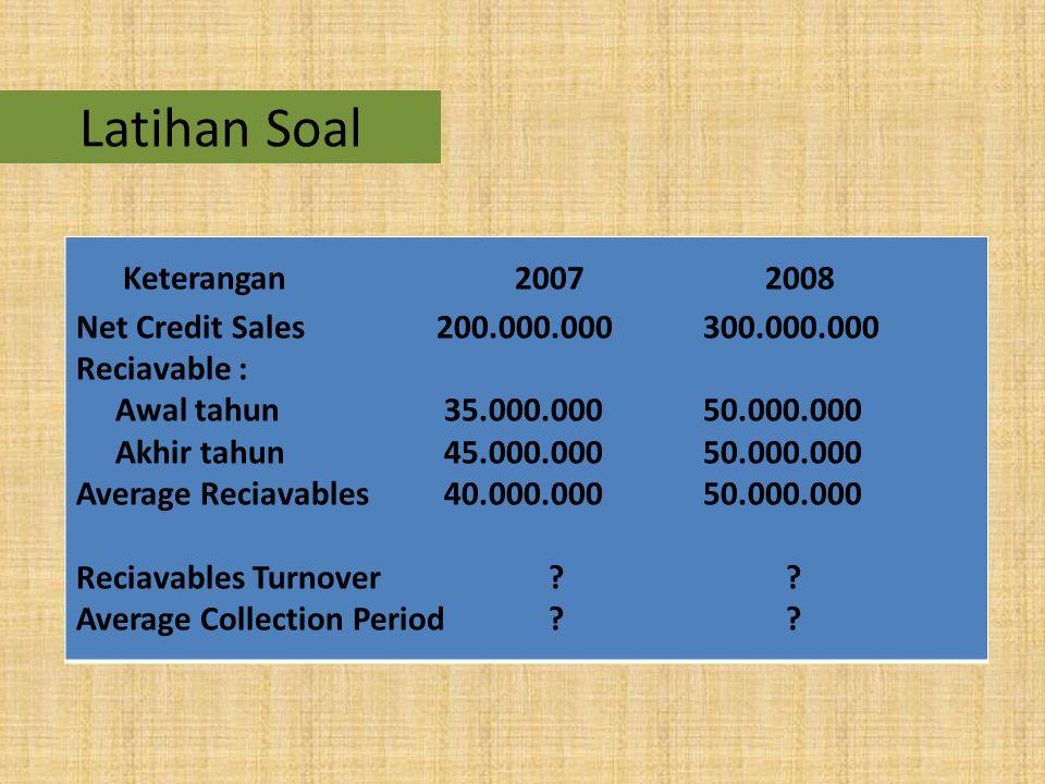 Latihan Soal Keterangan 2007 2008 Net Credit Sales 200.000.000 300.000.000 Reciavable : Awal tahun 35.000.000 50.000.000 Akhir tahun 45.000.000 50.000