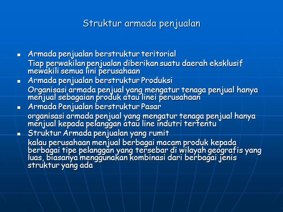 Ukuran Armada Penjualan  Misalkan perusahaan Gembira Ria memperkirakan bahwa ada 1.000 account untuk A dan 2.000 account B yang dibutuhkan di Indonesia.