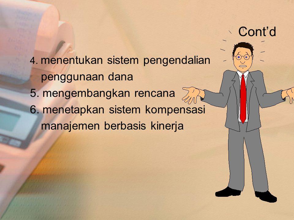Cont'd 4. menentukan sistem pengendalian penggunaan dana 5. mengembangkan rencana 6. menetapkan sistem kompensasi manajemen berbasis kinerja