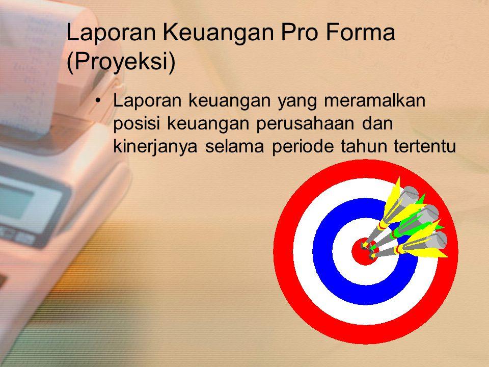 Laporan Keuangan Pro Forma (Proyeksi) •Laporan keuangan yang meramalkan posisi keuangan perusahaan dan kinerjanya selama periode tahun tertentu