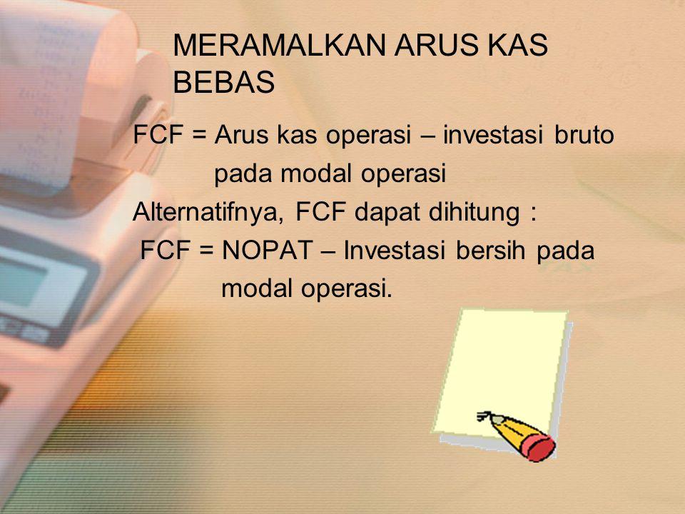 MERAMALKAN ARUS KAS BEBAS FCF = Arus kas operasi – investasi bruto pada modal operasi Alternatifnya, FCF dapat dihitung : FCF = NOPAT – Investasi bers