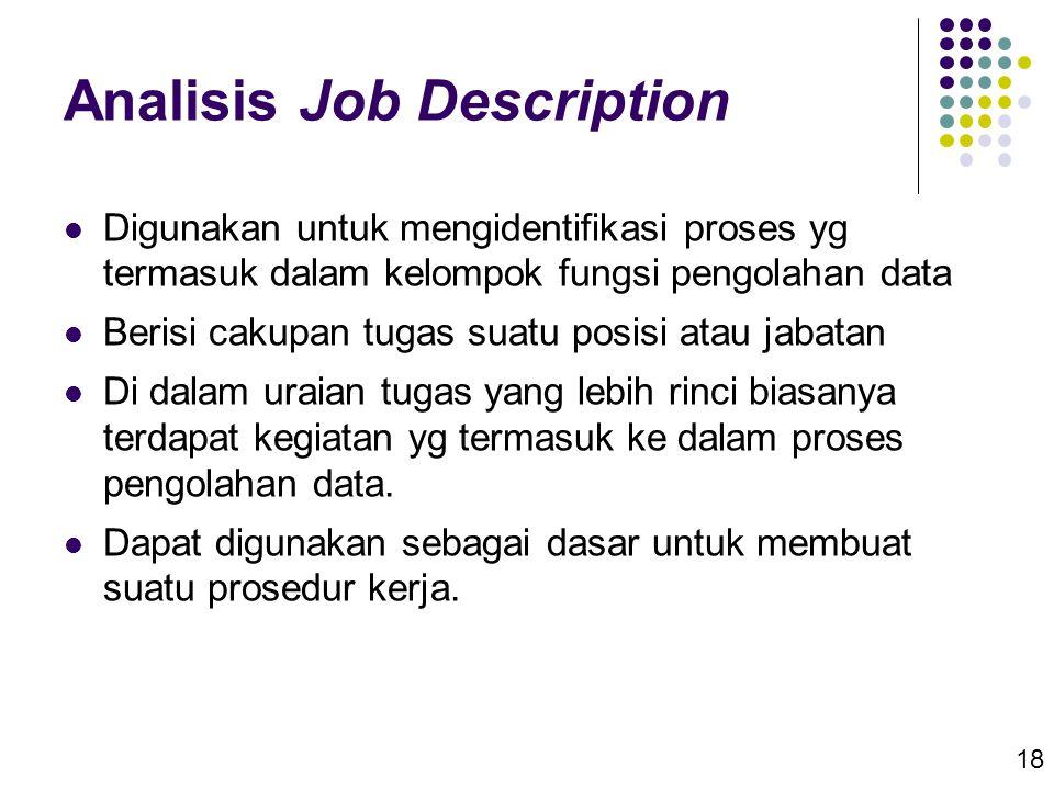 18 Analisis Job Description  Digunakan untuk mengidentifikasi proses yg termasuk dalam kelompok fungsi pengolahan data  Berisi cakupan tugas suatu p