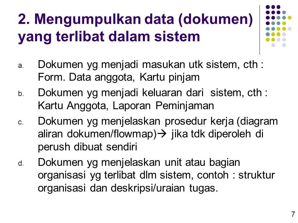 7 2. Mengumpulkan data (dokumen) yang terlibat dalam sistem a. Dokumen yg menjadi masukan utk sistem, cth : Form. Data anggota, Kartu pinjam b. Dokume